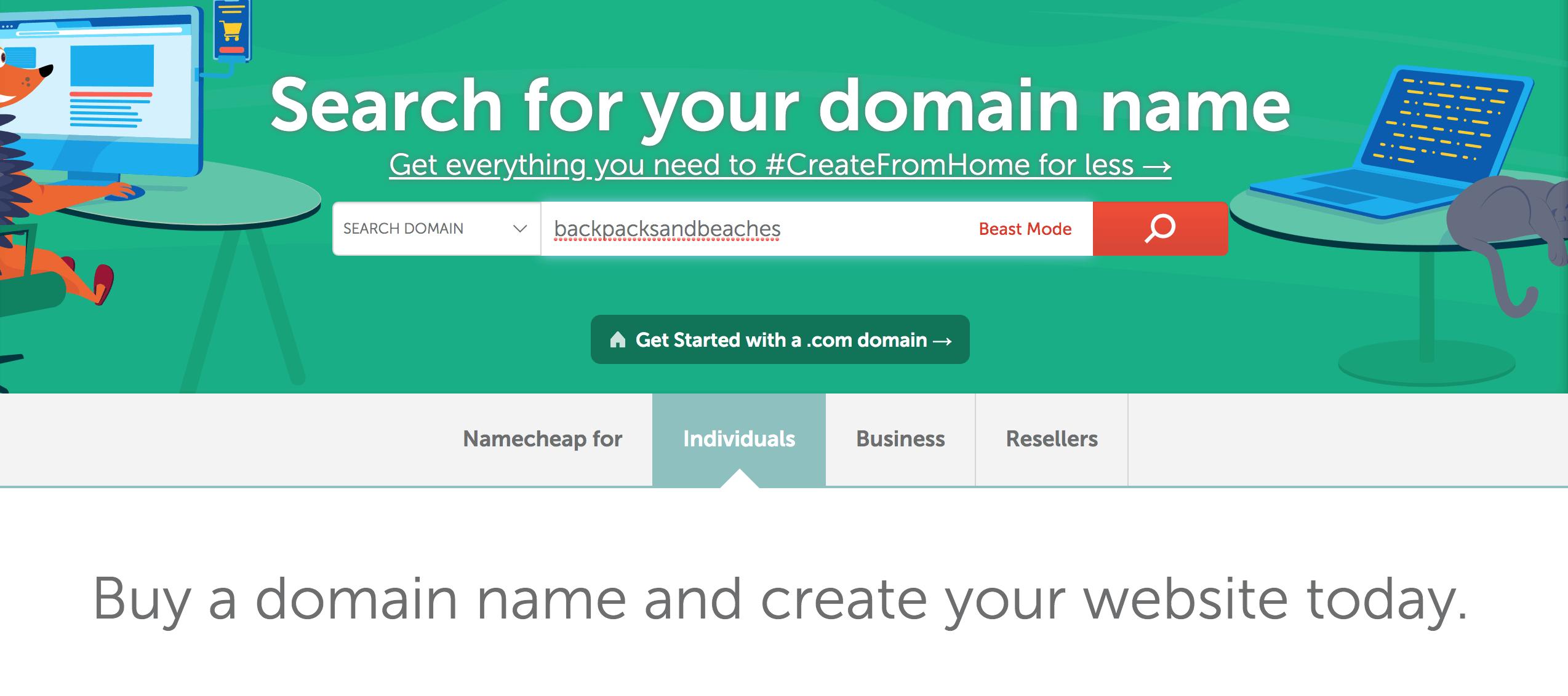 Namecheap website - buy your domain.