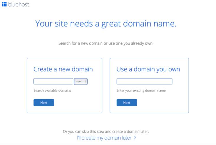 Choose you domain name Bluehost screenshot