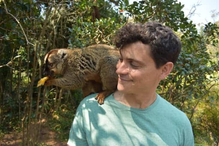 Matt with monkey