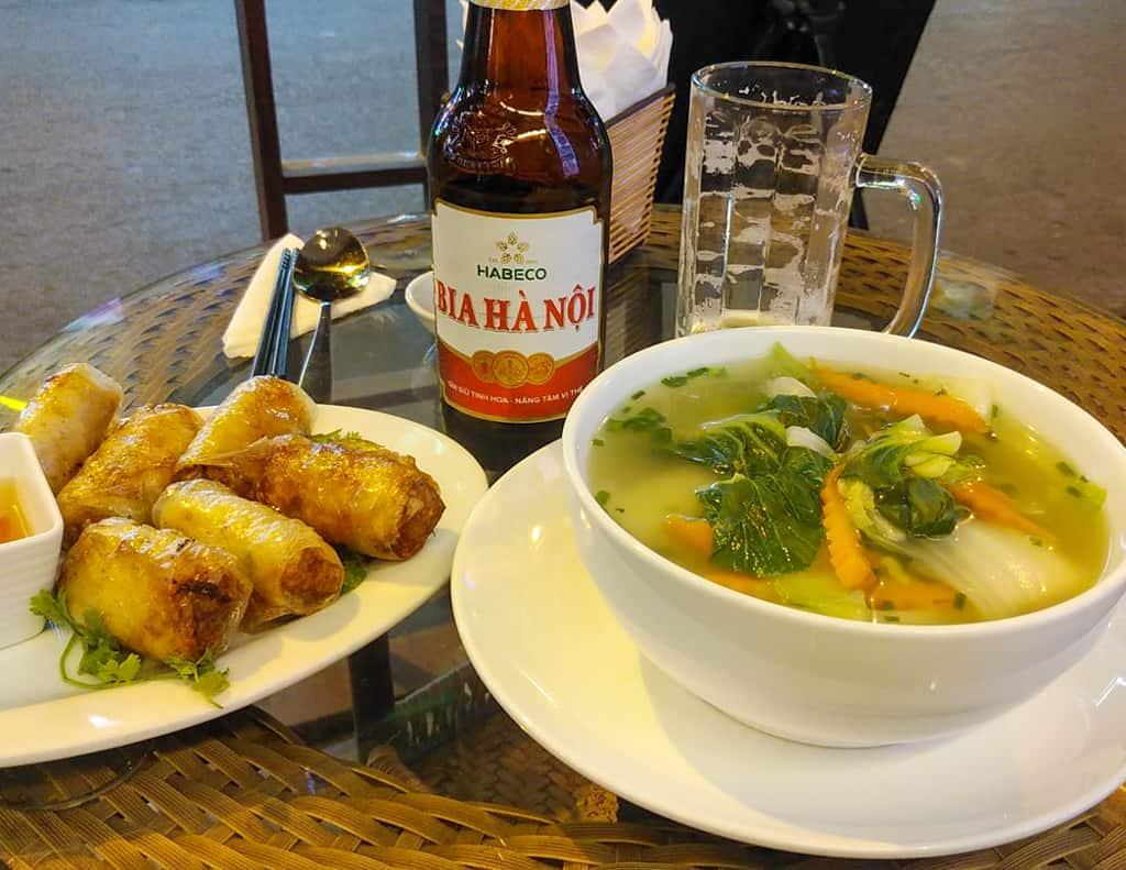 Vietnamese spring rolls, pho and beer.