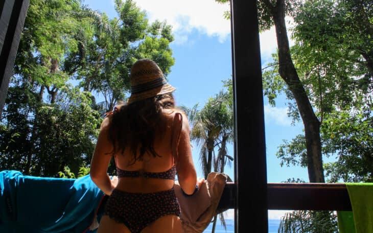 Woman in bikini in tropical place