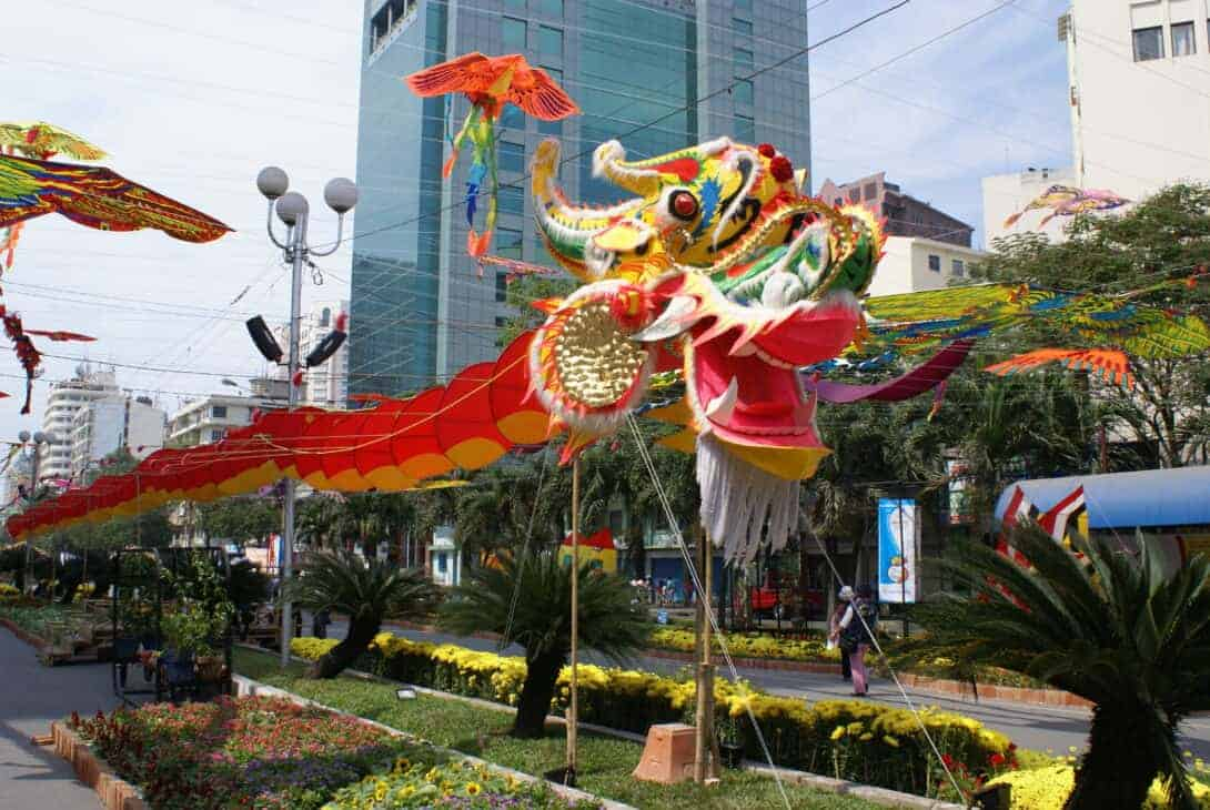 A dragon in the streets for Tet Nguyen Dan Festival.