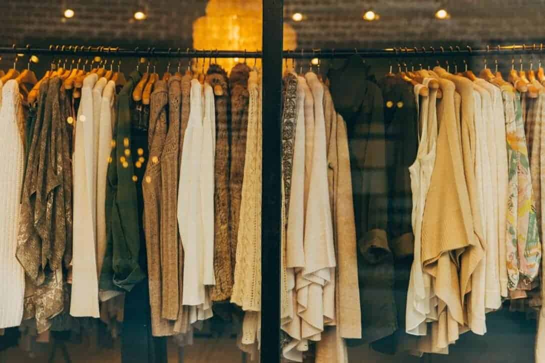 Clothes on rail in shop