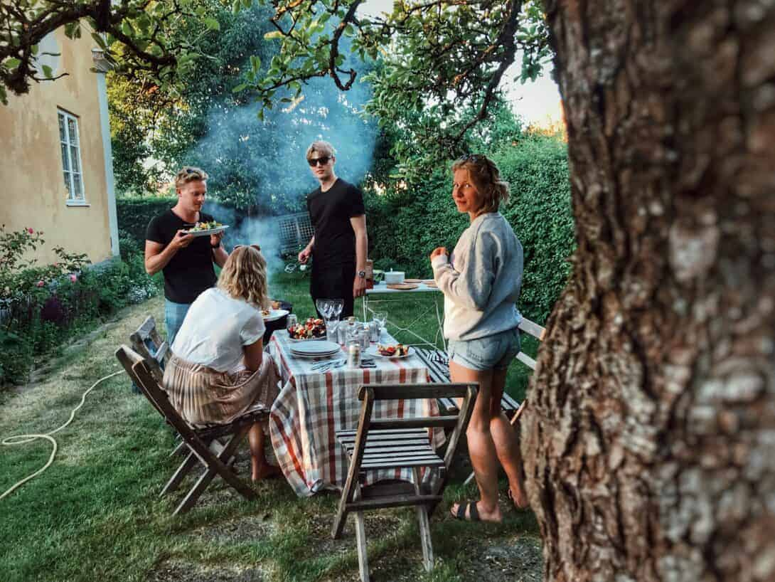 Friends having a barbecue.