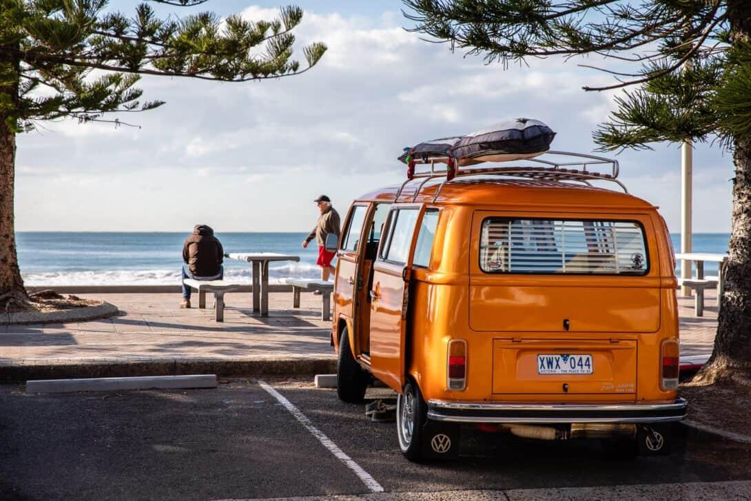A camper van near the sea in Australia.