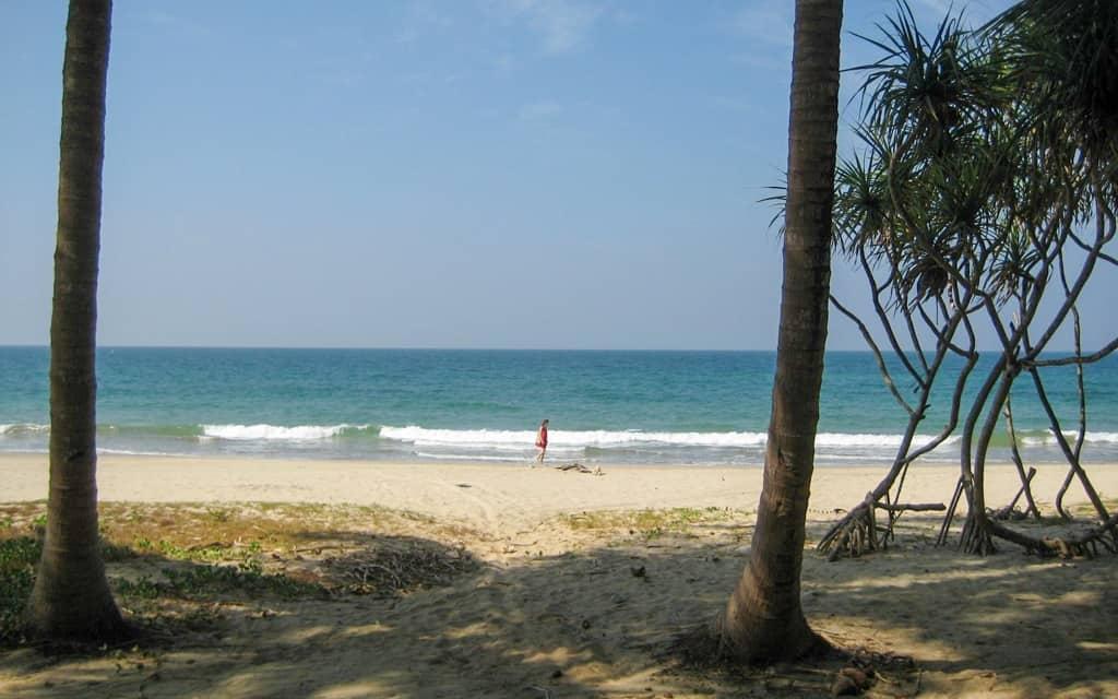 Ngwesaung beach - girl walking