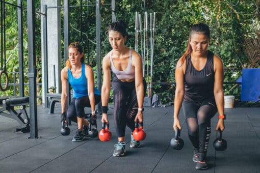 The girls doing muscle toning at KohFit.