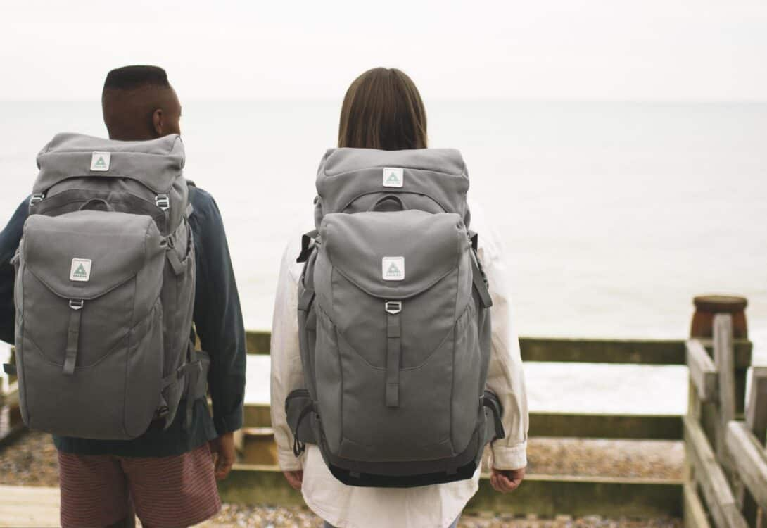Couple wearing Salkan's The Backpacker