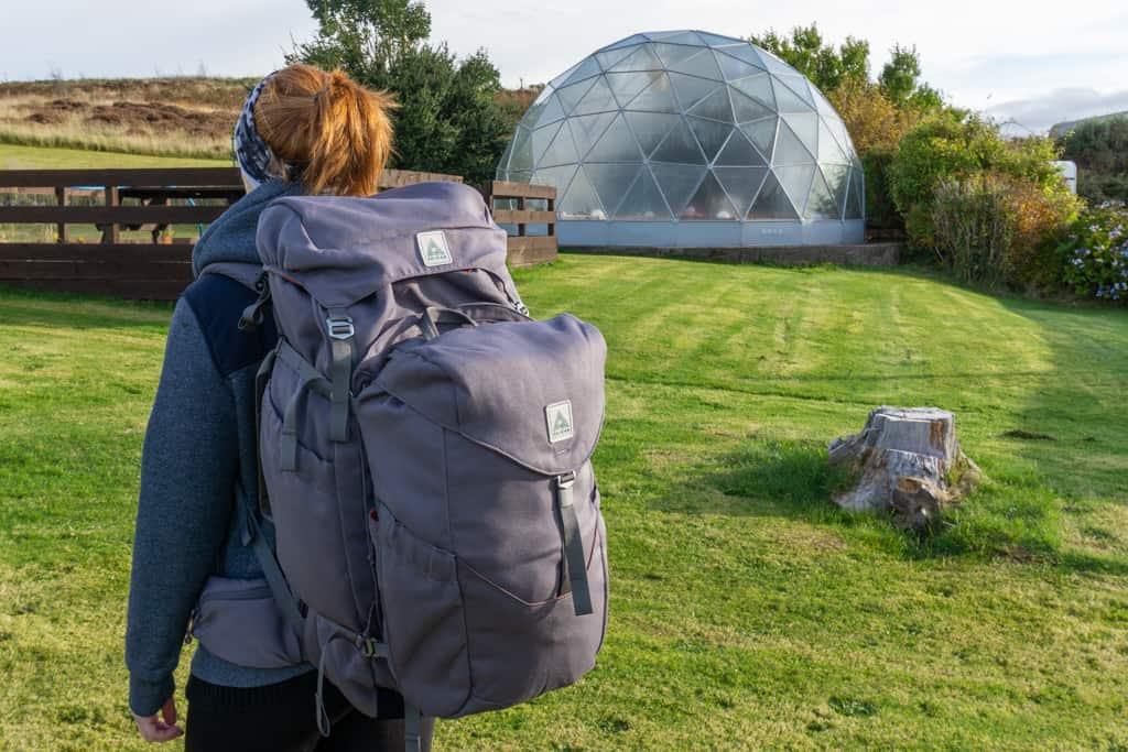 Hostel garden with Salkan's The Backpacker