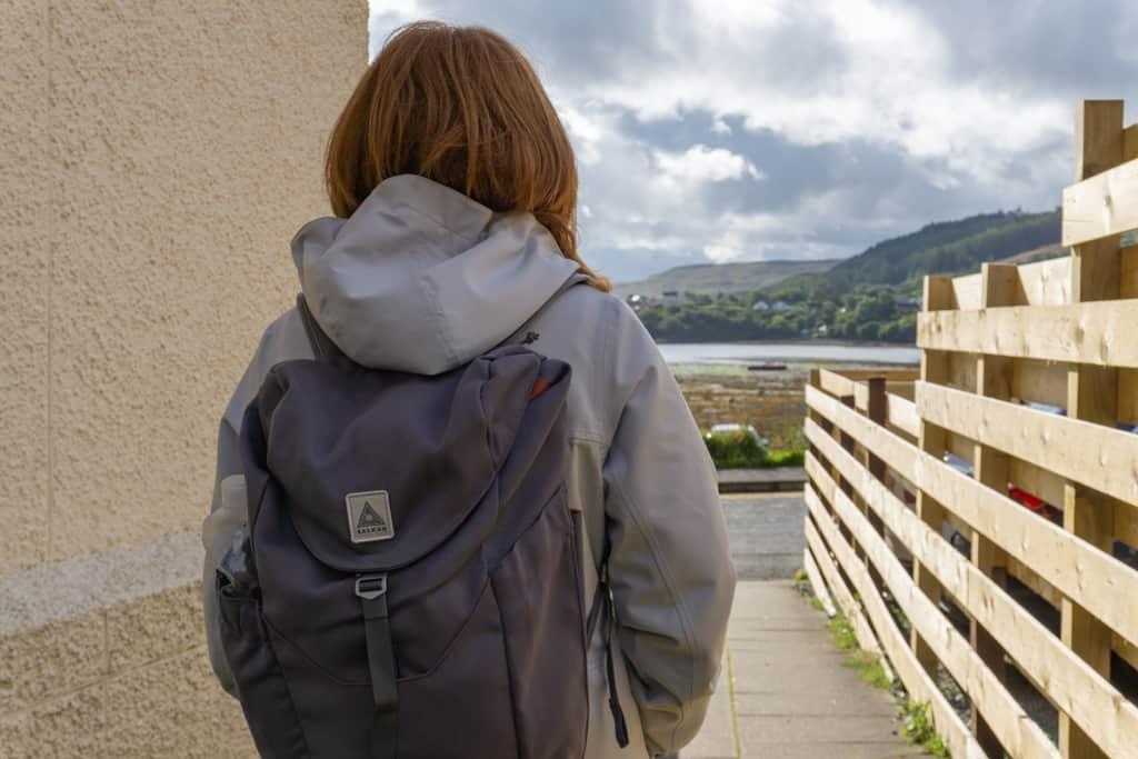 Girl carrying Salkan Daypack