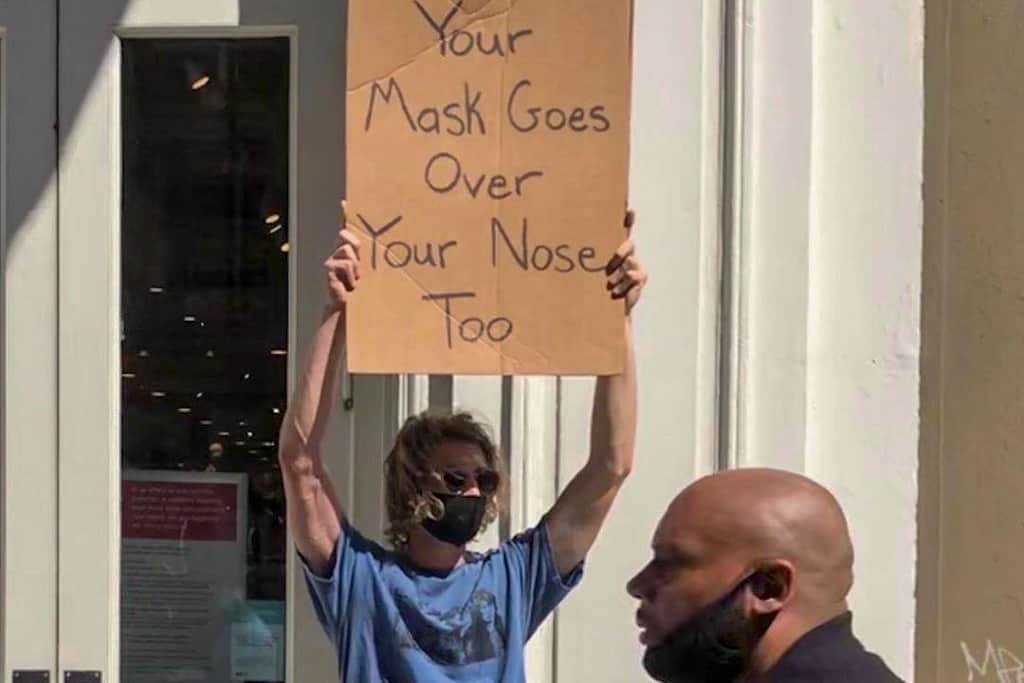 Cover your nose too sign