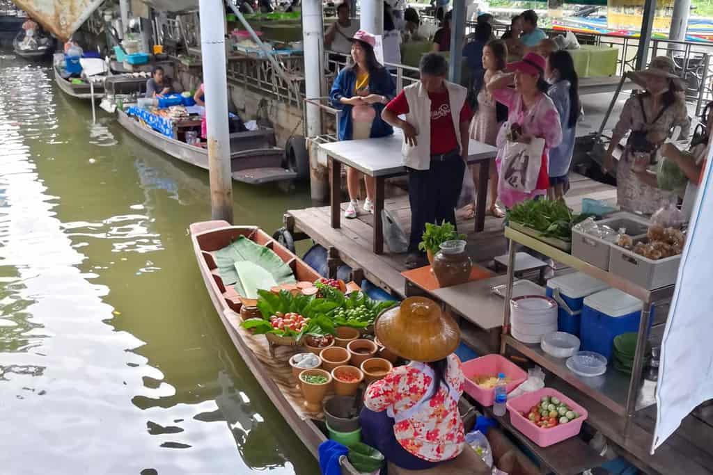 Riverside floating market thailand