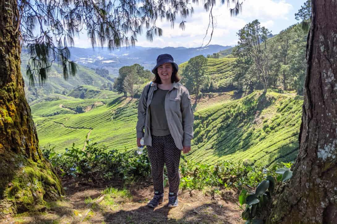Abi Stafford near rice paddies