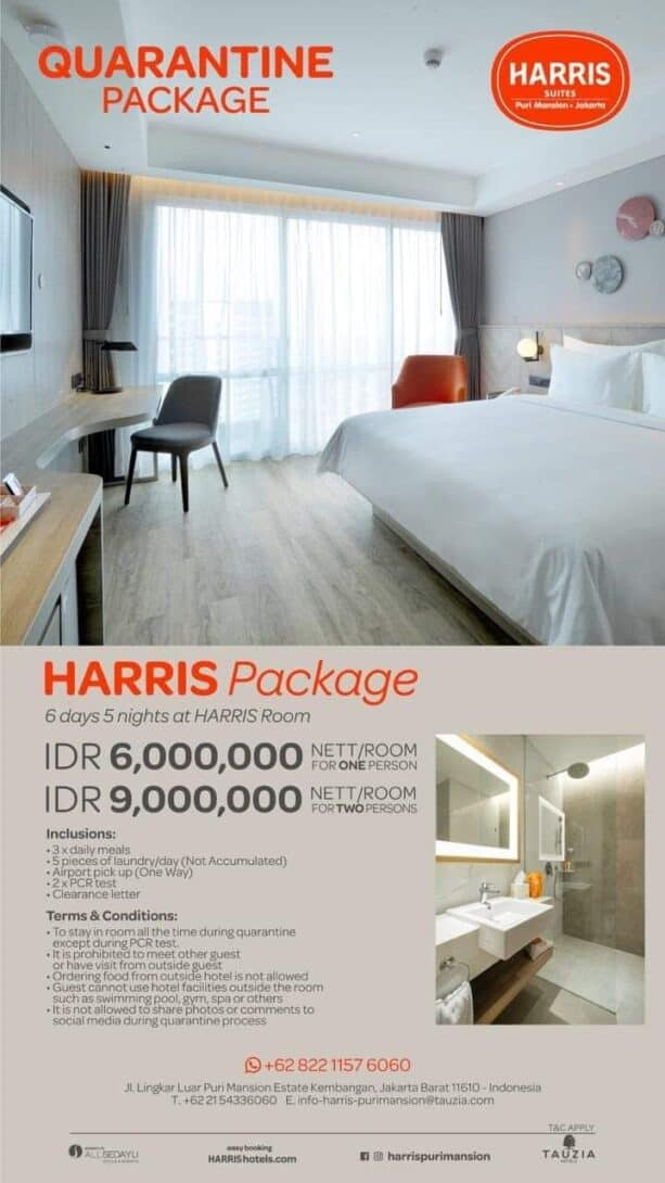 The quarantine package at the Harris Putri Mansion, Jakarta.