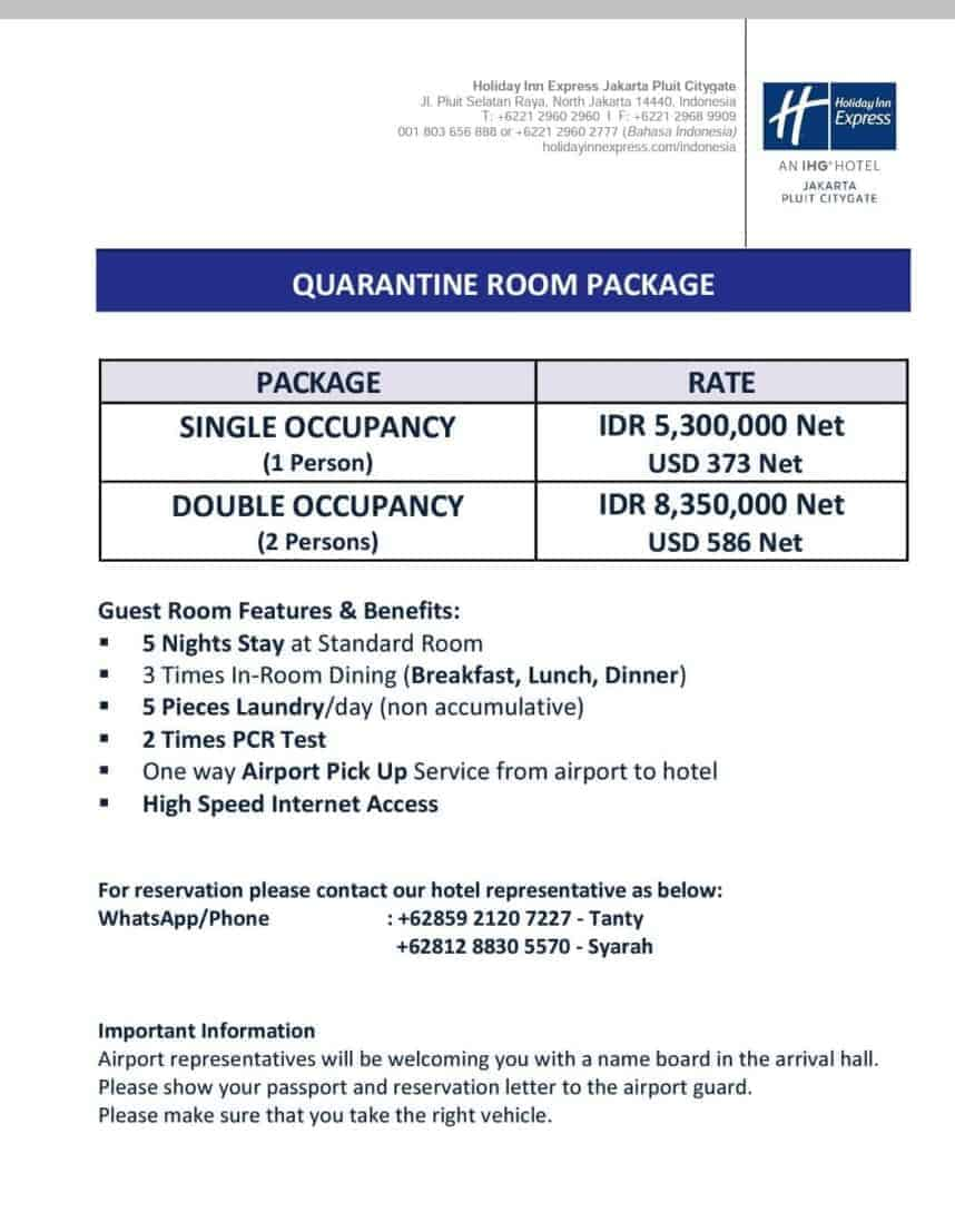 The quarantine package at the Holiday Inn Pluit.