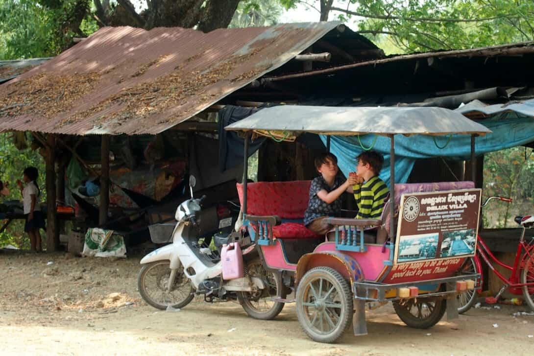 Kids in tuk tuk in Cambodia
